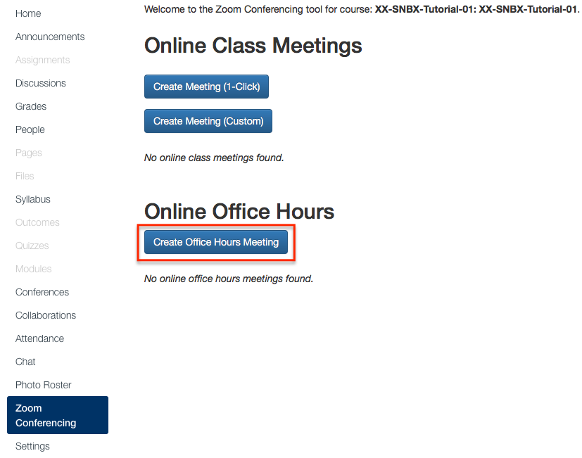 create office hours meeting