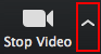 Click up pointing arrow on the 'Stop Video' button to adjust video settings