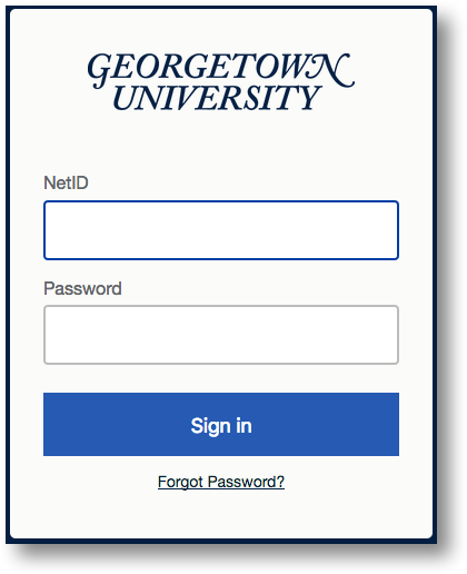 GU standard login screen