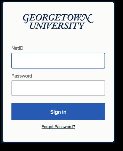 GU standard login screen