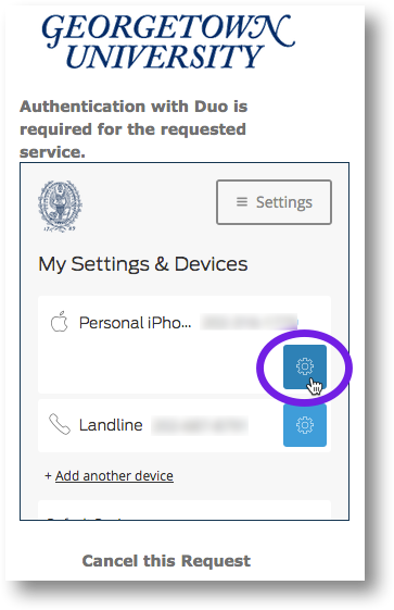 Click the Settings (gear) icon for your device