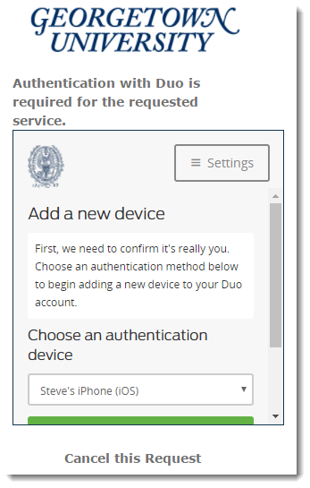 Duo screen with authentication options