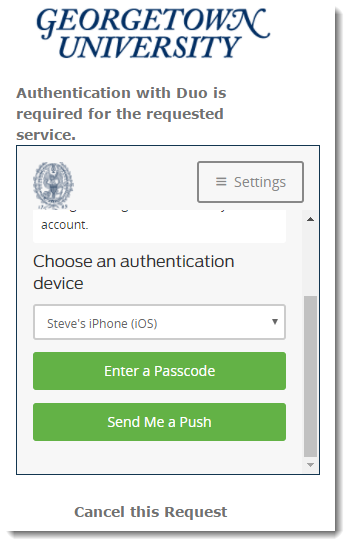 Duo screen with authentication options displayed