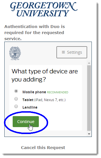 Indicate device type you are adding