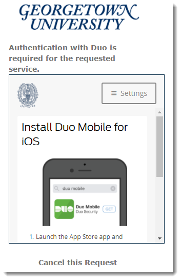 Indicate you have Duo installed