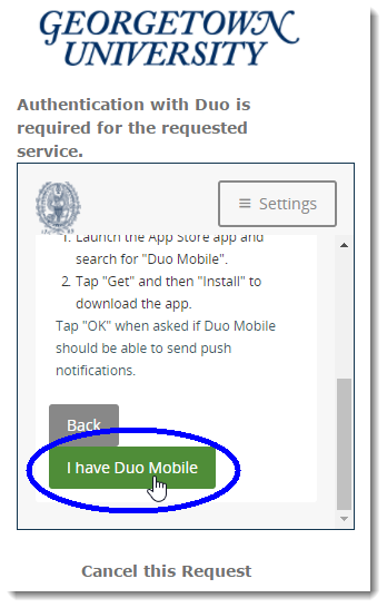 Indicate you have Duo Mobile app installed