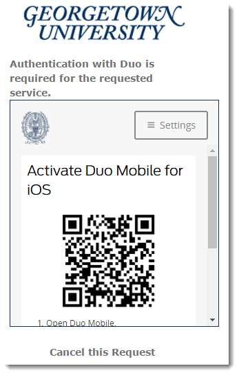 Bar code displayed to activate Duo Mobile