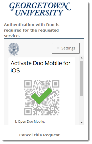 Confirmation of Duo Mobile activation