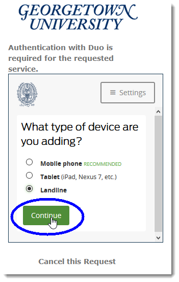 Select landline as device to add