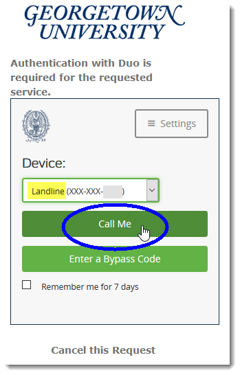 Authenticate with landline