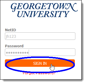 Georgetown login screen