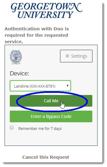 Select the Call Me option