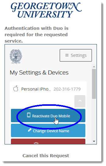 Select option to reactivate Duo Mobile