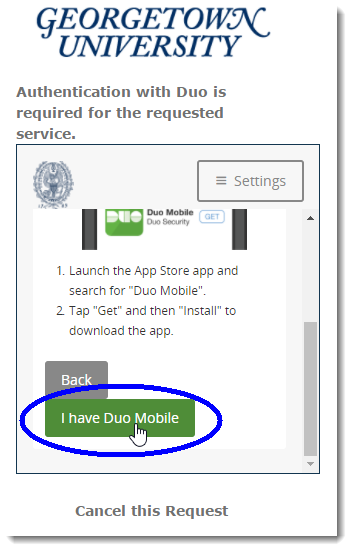 Select option 'I have Duo Mobile'