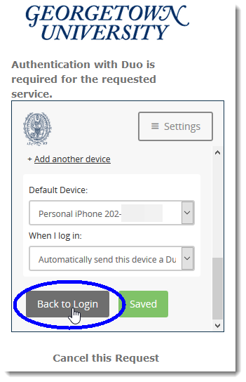 Click the 'Back to Login' button