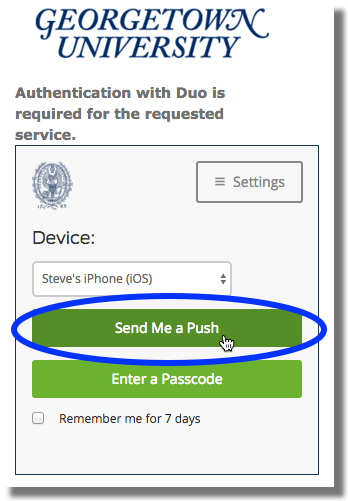 Duo login screen authentication options