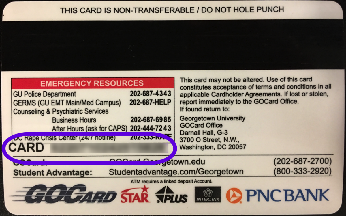 Number on back of GOCard