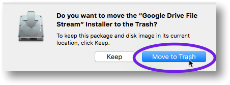 Click on the Move to Trash button
