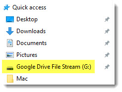 Google Drive File Stream listed in Quick access area of Windows Explorer