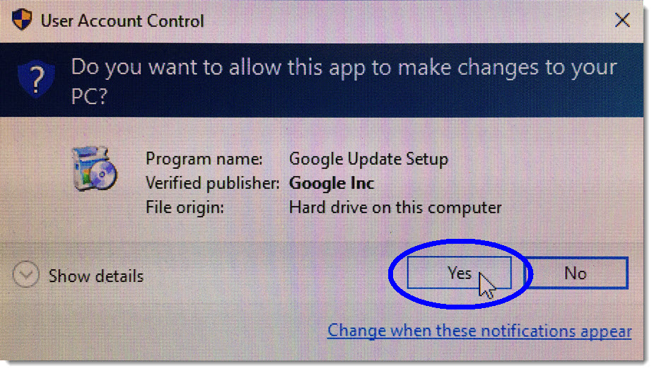 Click Yes in the security window