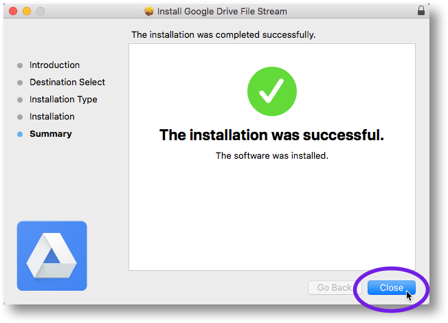 Confirmation of successful installation of File Stream