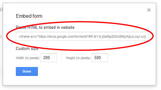 iframe src tag with link to google doc form in quotes