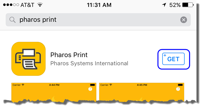 Tap on Get to get the Pharos Print app