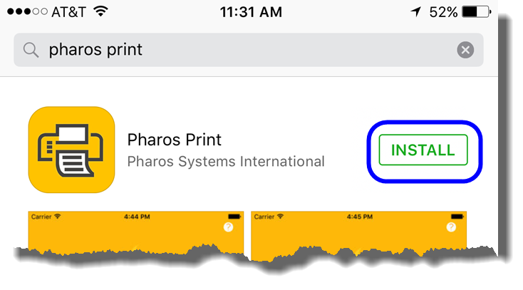 Tap on Install to install the Pharos Print app