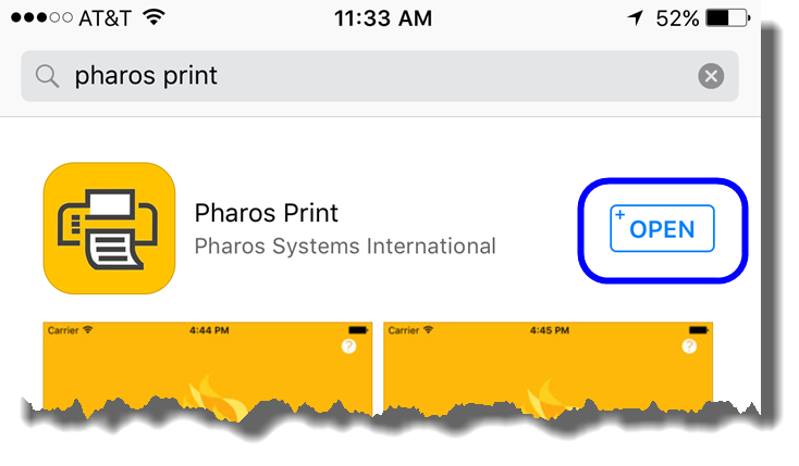 Tap on Open to open the Pharos Print app