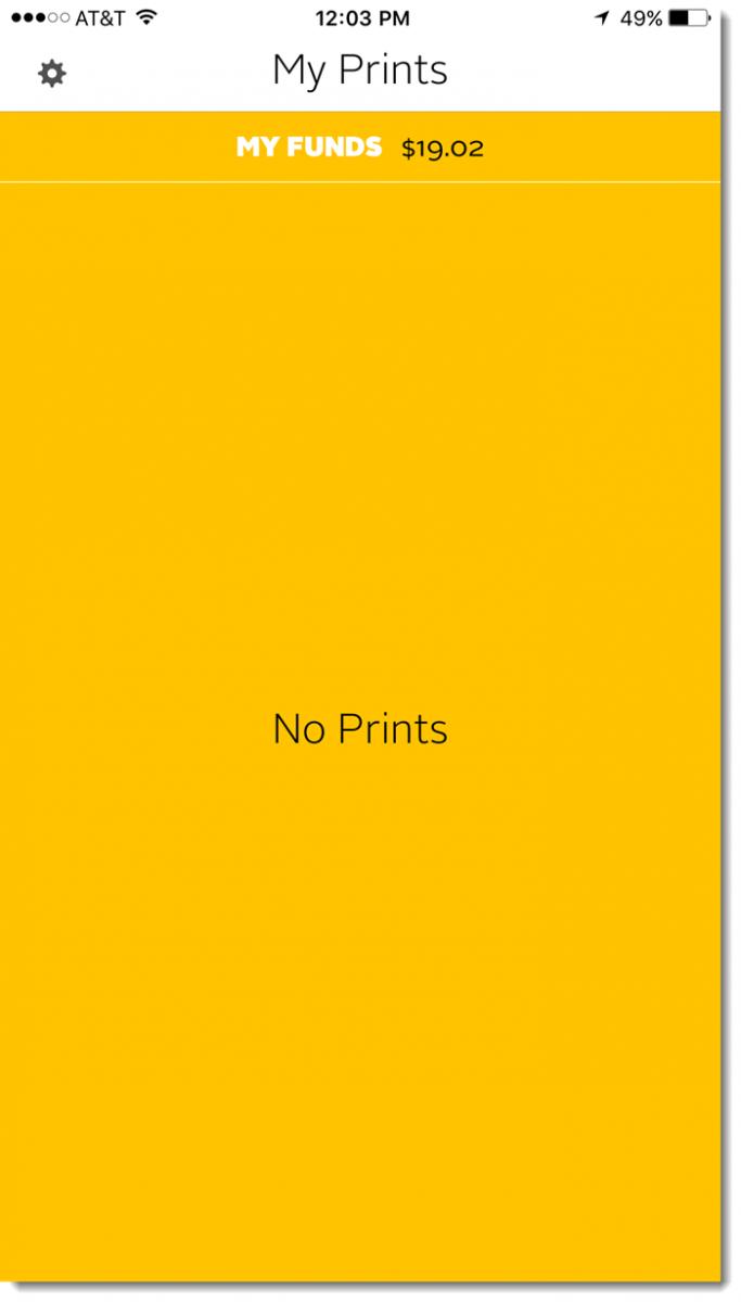Pharos Print app home screen