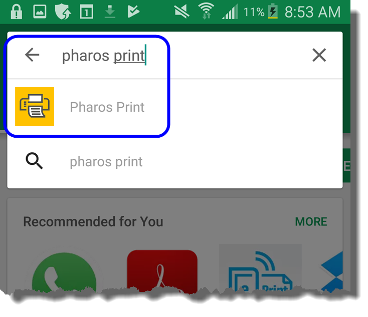 Select Pharos Print from Google Play store search results
