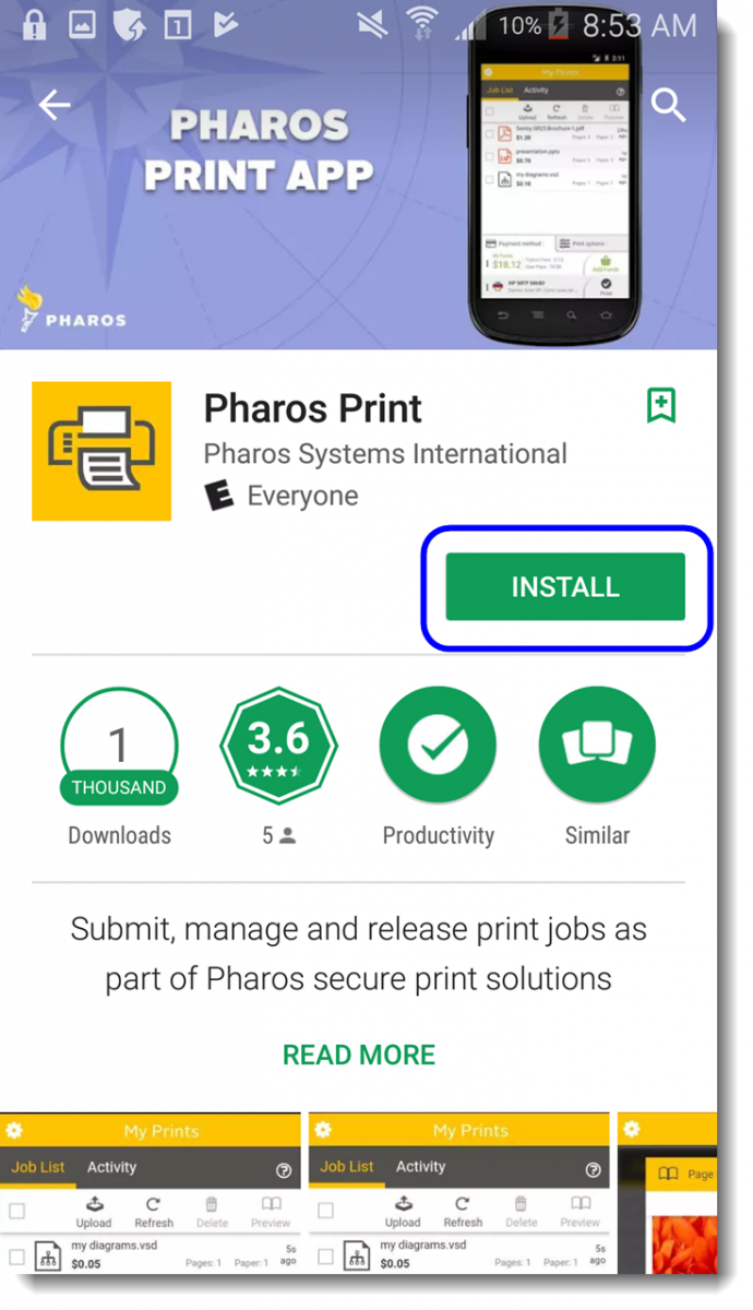 Click Install to install the Pharos Print app