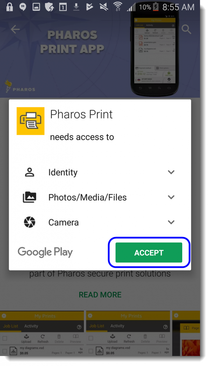 Tap Accept to allow app access to listed items