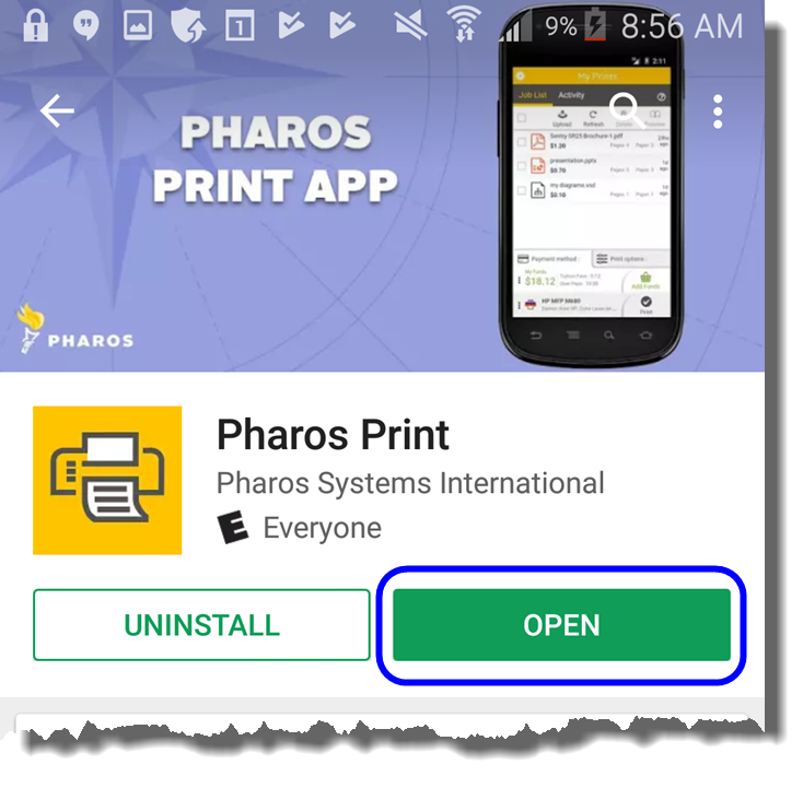 Tap Open to open the Pharos Print app