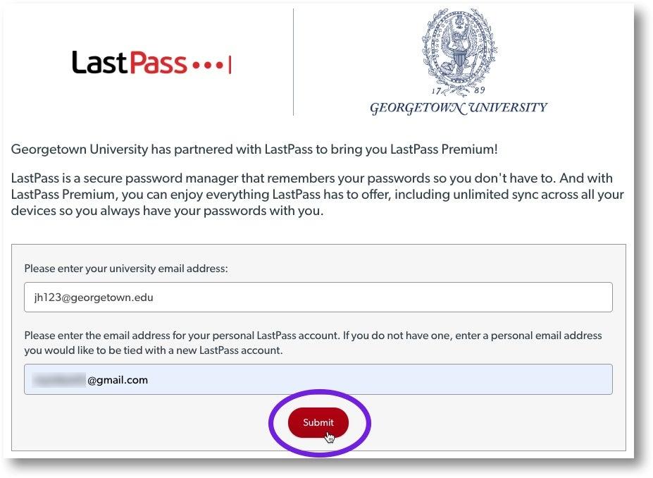 LastPass landing page to create Georgetown LastPass account