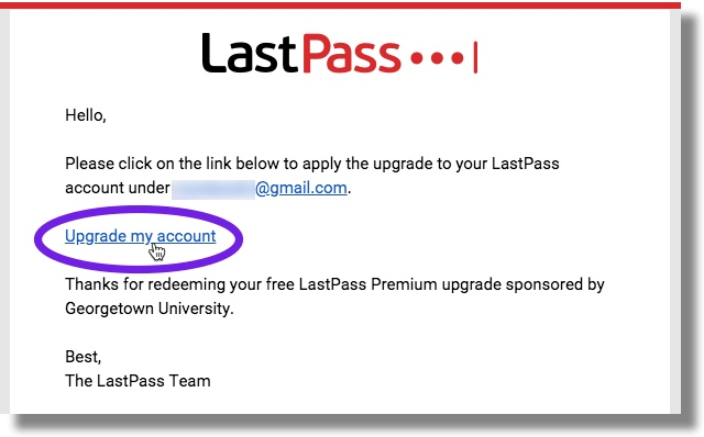 Click on link in LastPass email