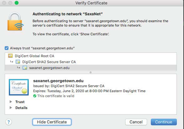 Select Continue to verify certificate