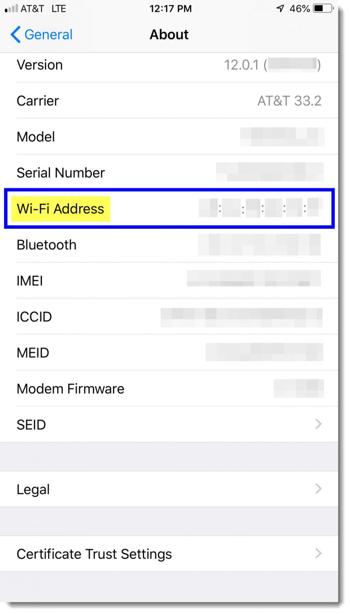 MAC Address displayed next to 'Wi-Fi Address'