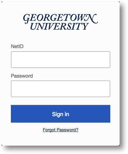 Georgetown login screen