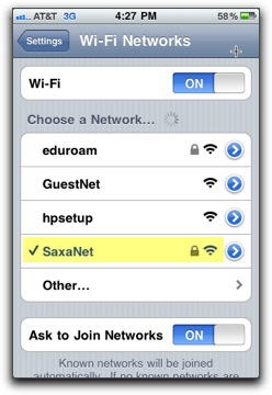 checkmark next to the saxanet wifi network