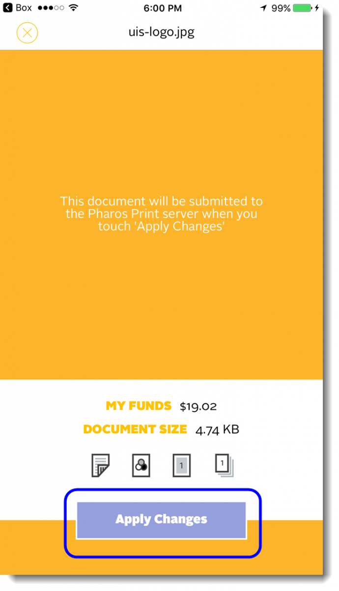 Tap on Apply Changes to add document to print queue