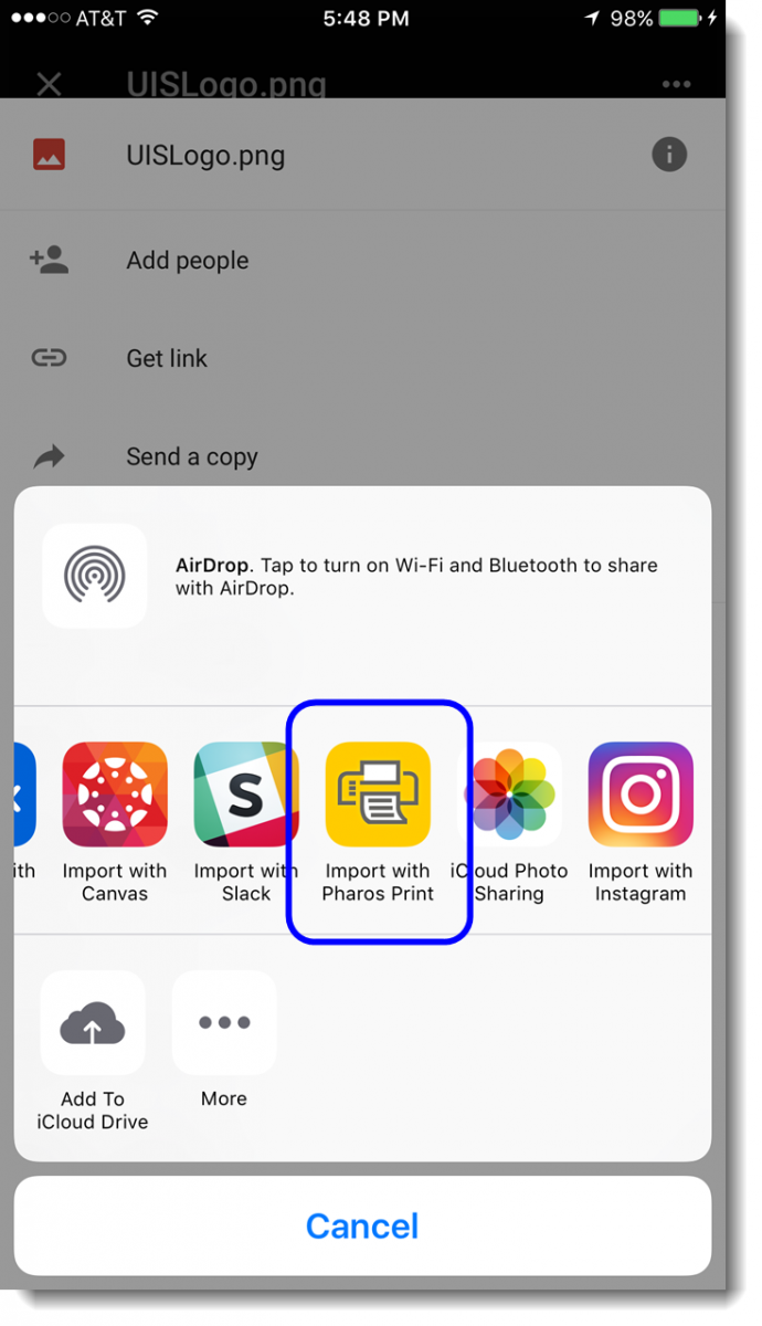 Tap on the option Import with Pharos Print