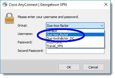 Select 'Duo-two-factor'