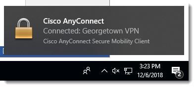 VPN connection confirmation message