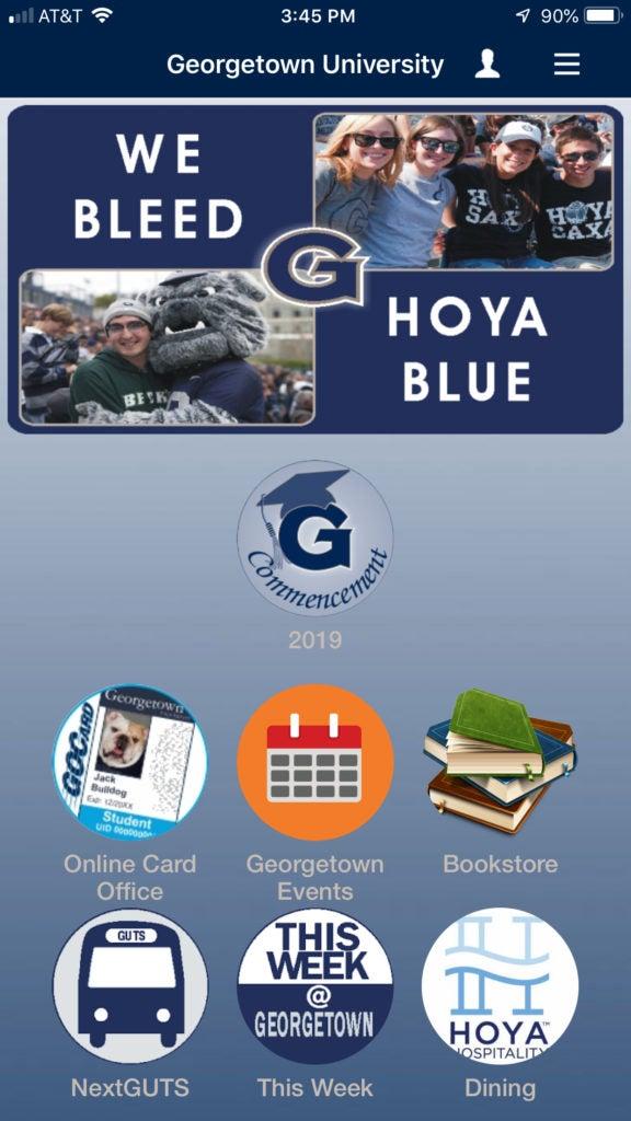 GU Mobile App Home Page