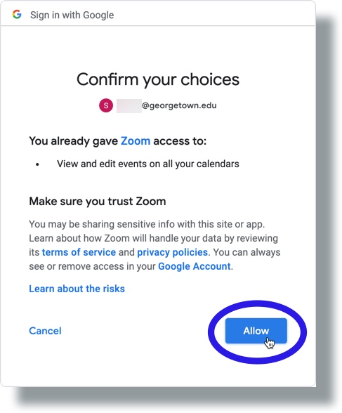 Click Allow to permit Zoom access to Google Calendar