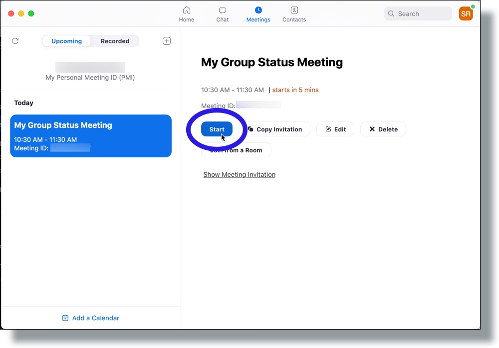 Select your meeting and then click Start