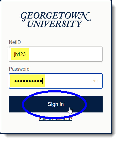 Enter your NetID and password in GU login screen