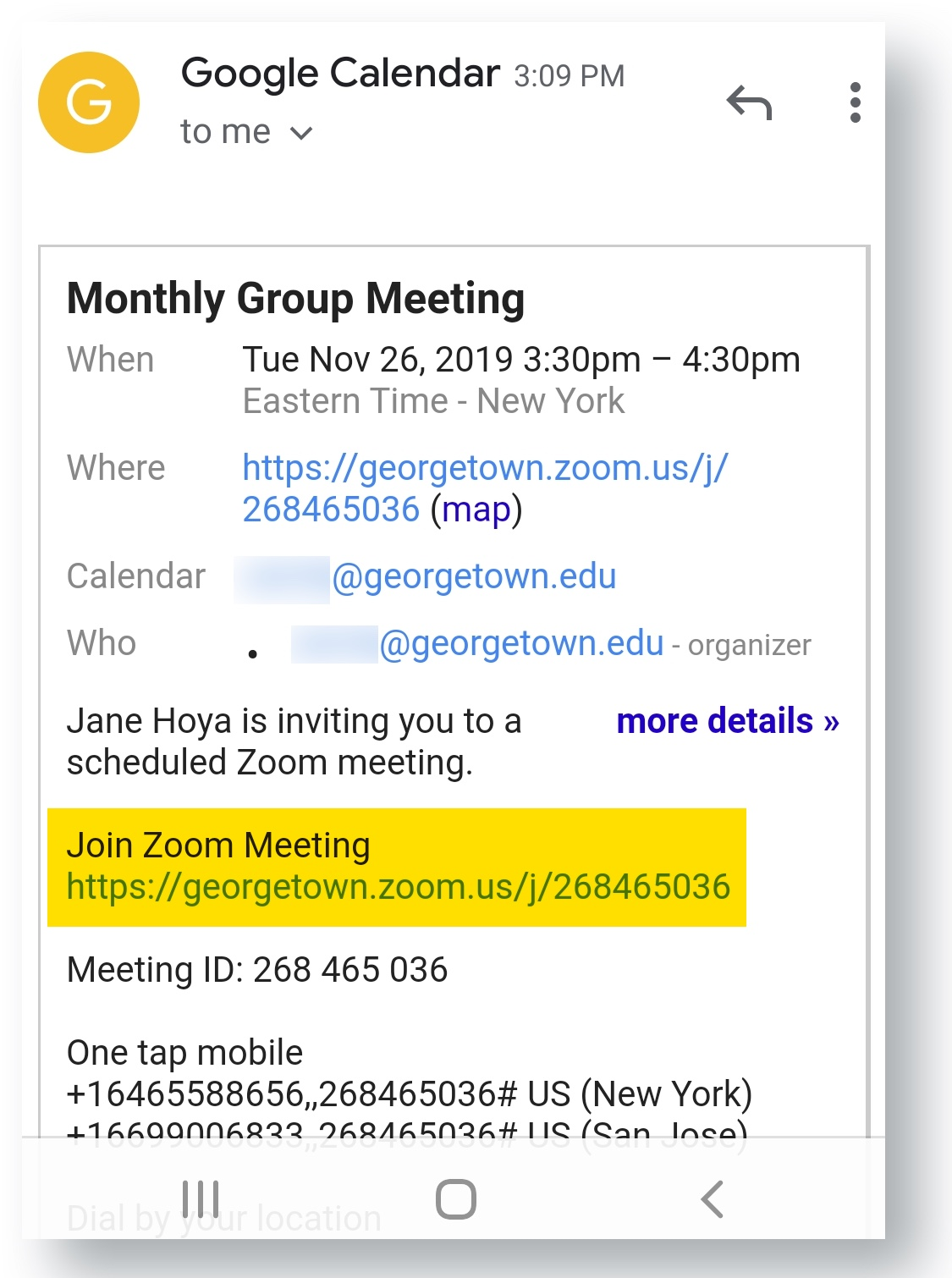 Tap meeting URL from invitation email
