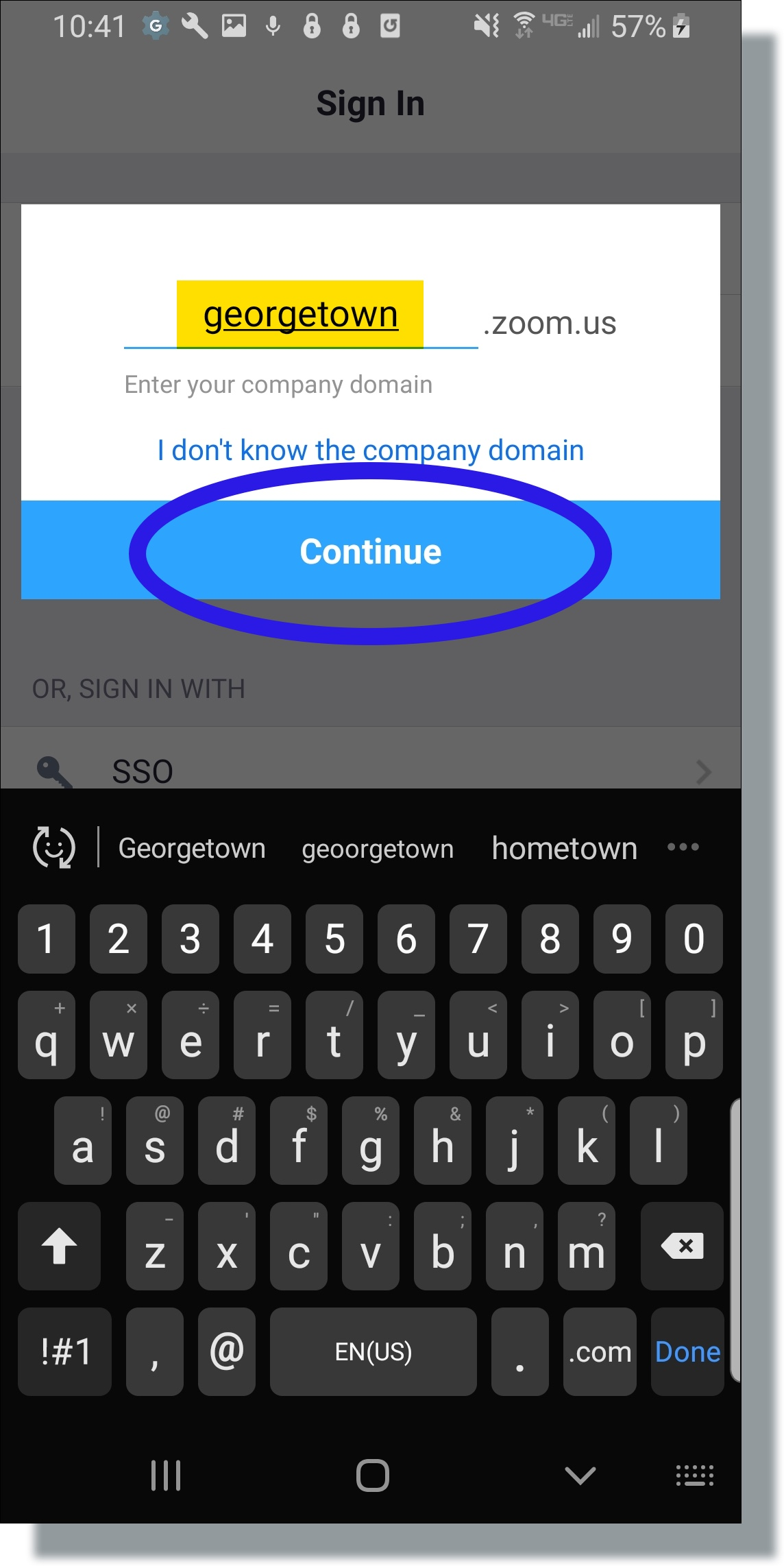 Enter 'georgetown' for the company domain name and then tap Continue